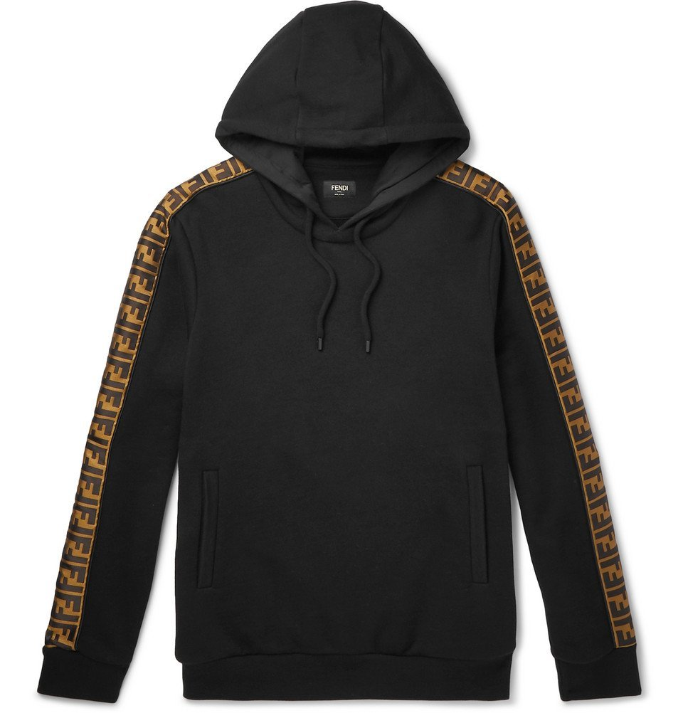 Photo: Fendi - Logo-Appliquéd Fleece-Back Cotton, Wool, Silk and Cashmere-Blend Jersey Hoodie - Black