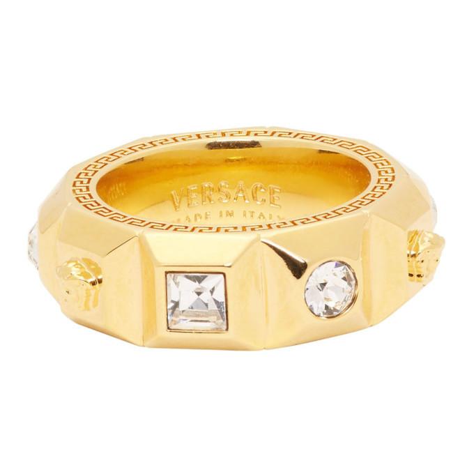 Versace Gold Crystal Palazzo Medusa Band Ring