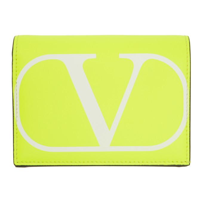 Photo: Valentino Yellow VLogo Flap French Wallet