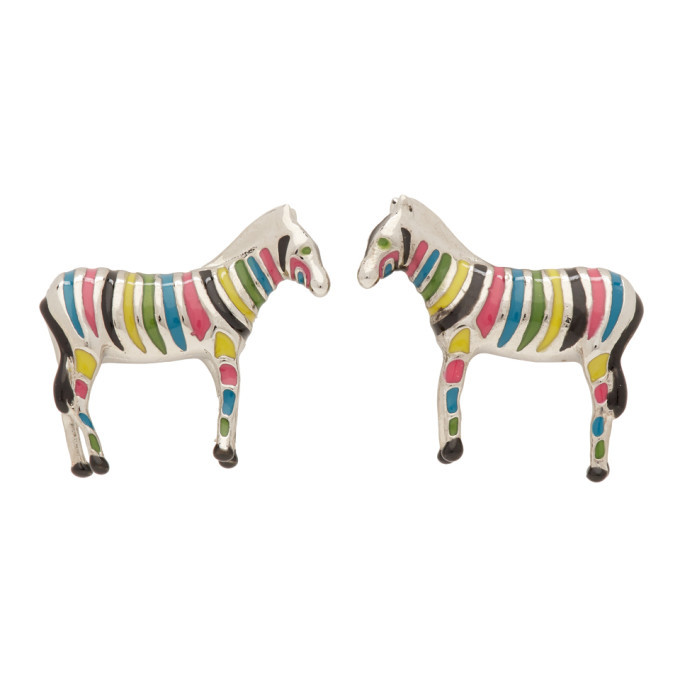 Photo: PS by Paul Smith Silver and Multicolor Zebra Cufflinks