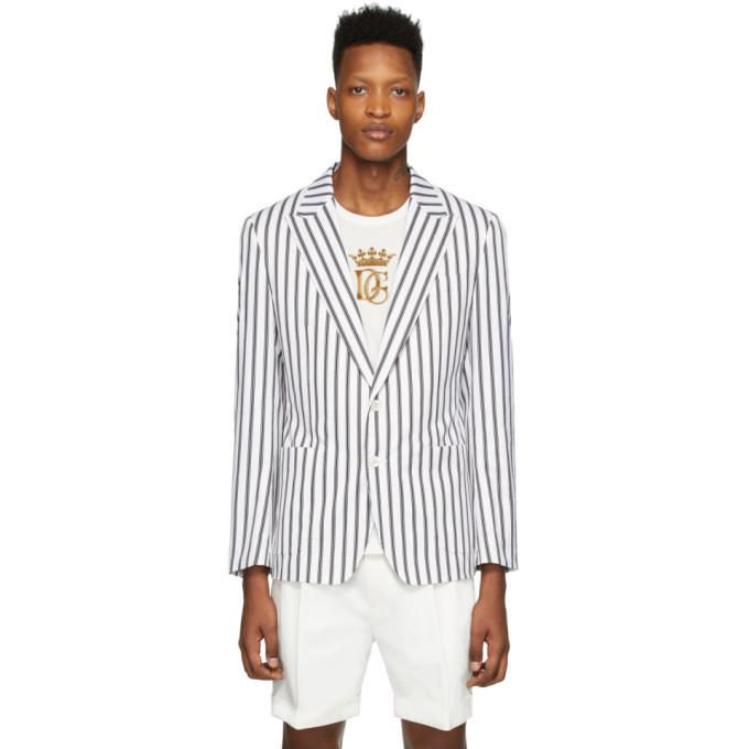 Photo: Dolce and Gabbana White Striped Blazer