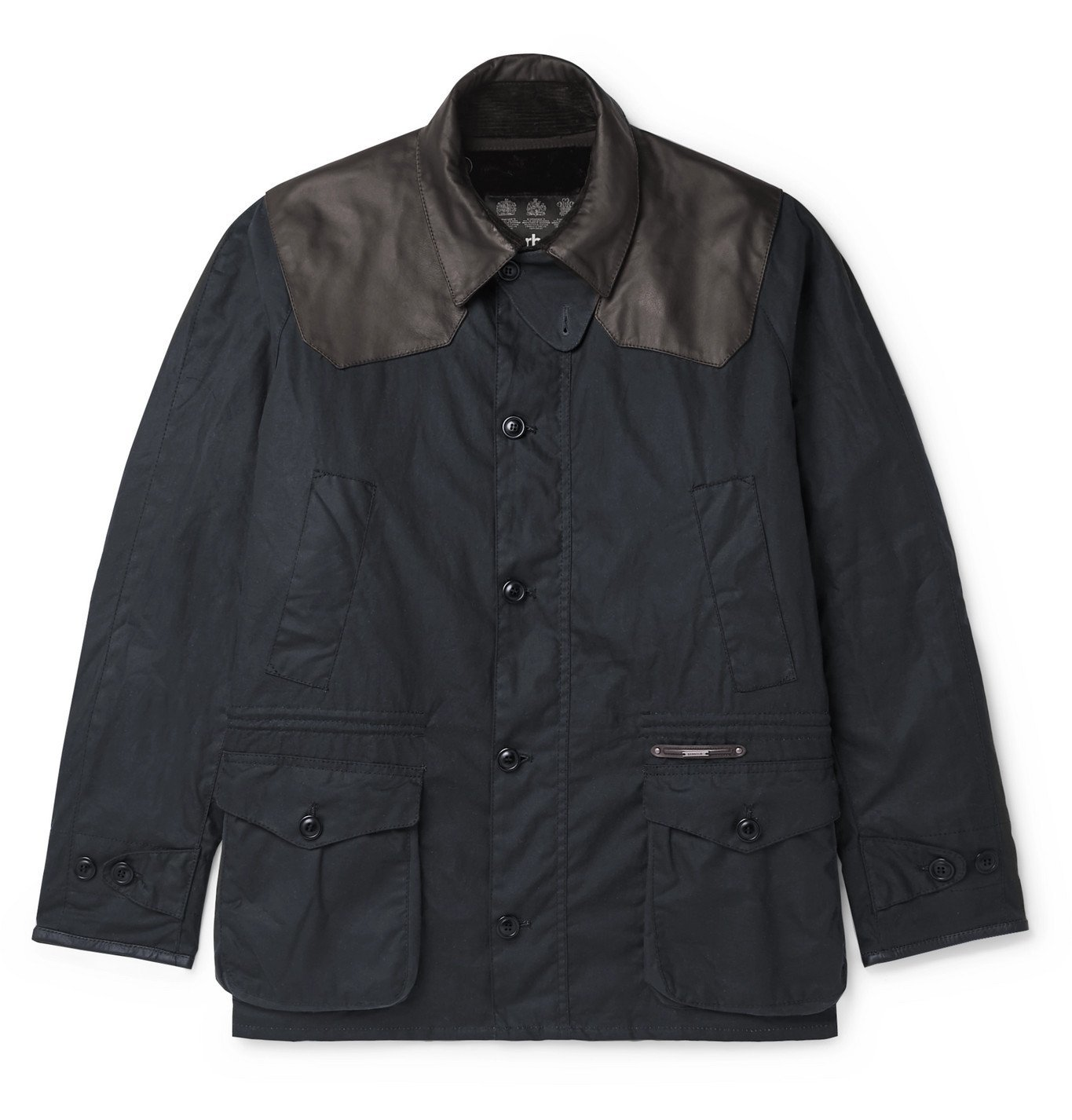 Photo: Barbour Gold Standard - Supa-Asby Leather-Trimmed Waxed-Cotton Jacket - Blue
