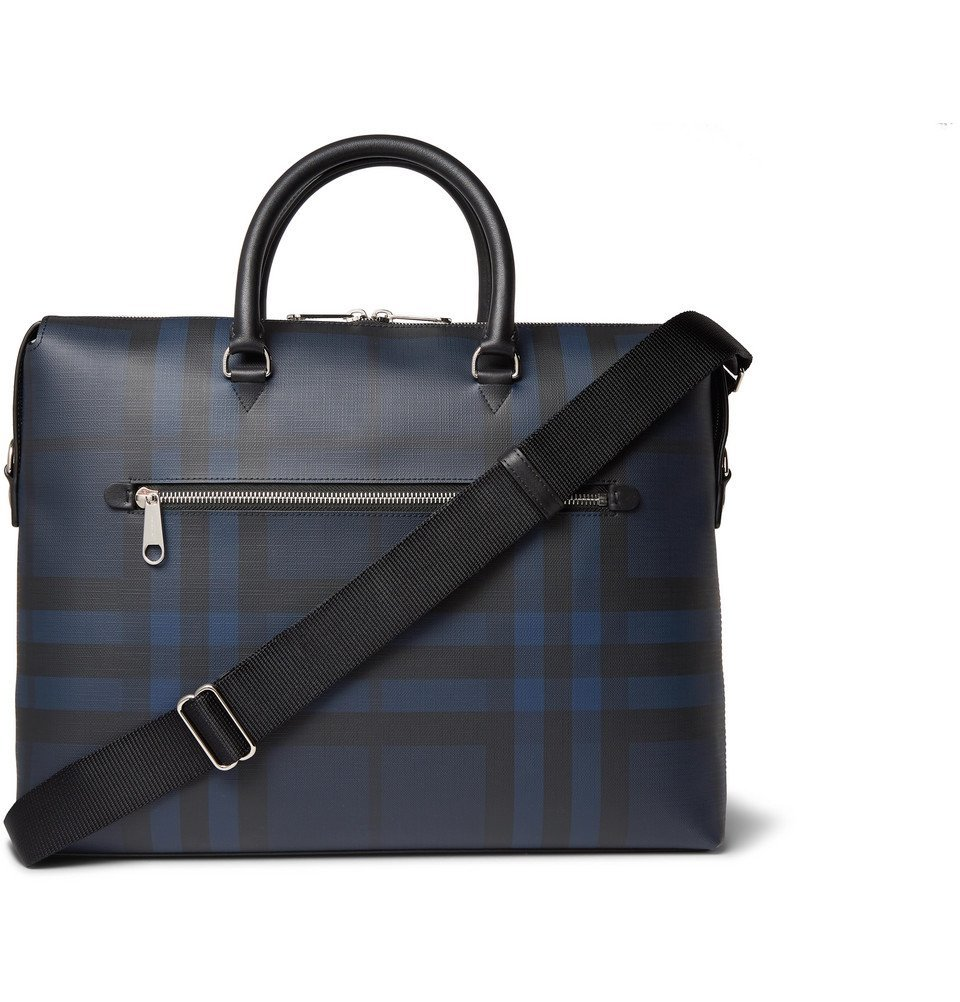 Photo: Burberry - Checked Textured-Leather Briefcase - Navy