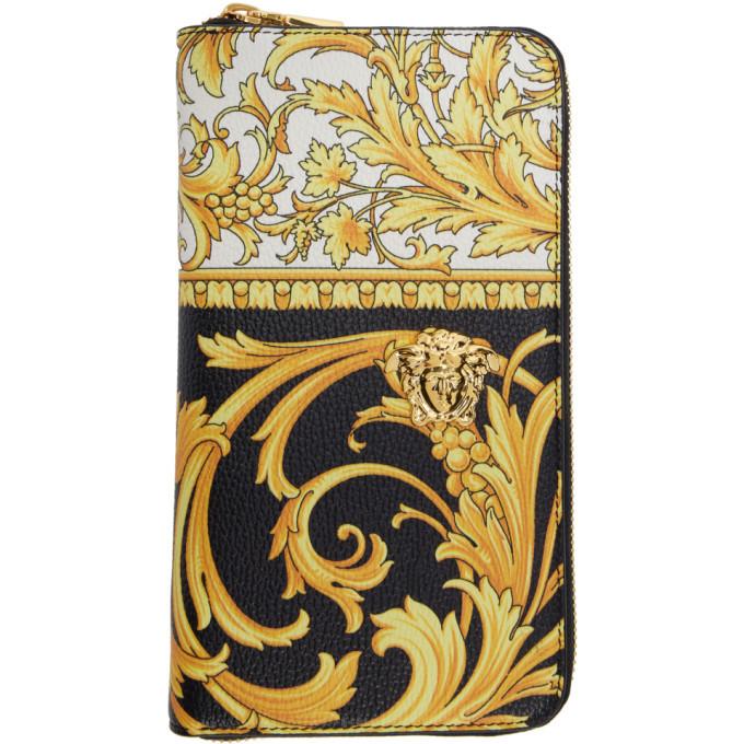 Photo: Versace Black and Yellow Barocco Long Zip Wallet