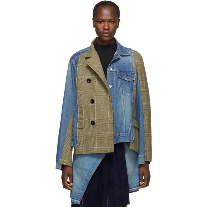 Sacai Blue and Beige Denim Glen Check Jacket