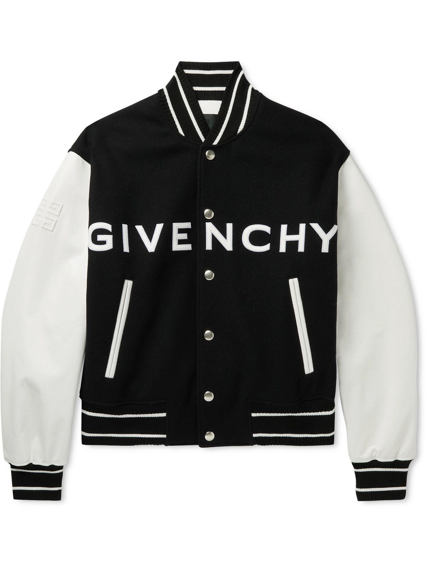 Photo: GIVENCHY - Logo-Appliquéd Leather-Trimmed Wool-Blend Bomber Jacket - Black