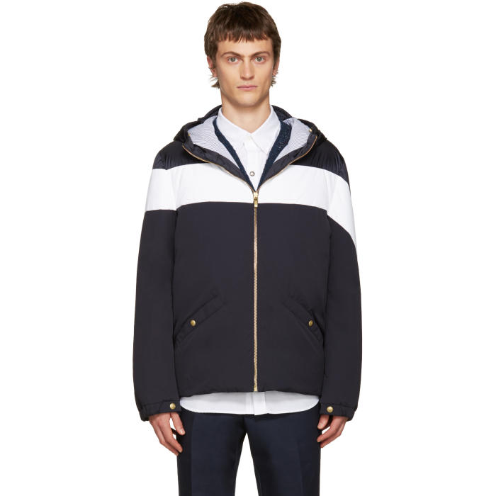 Photo: Moncler Gamme Bleu Blue and White Down Jacket
