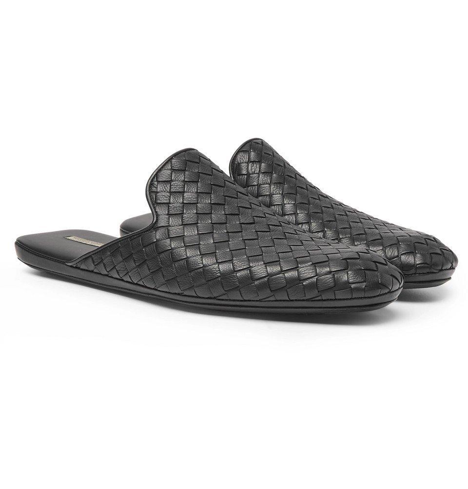 Bottega Veneta - Intrecciato Leather Backless Slippers - Men - Black