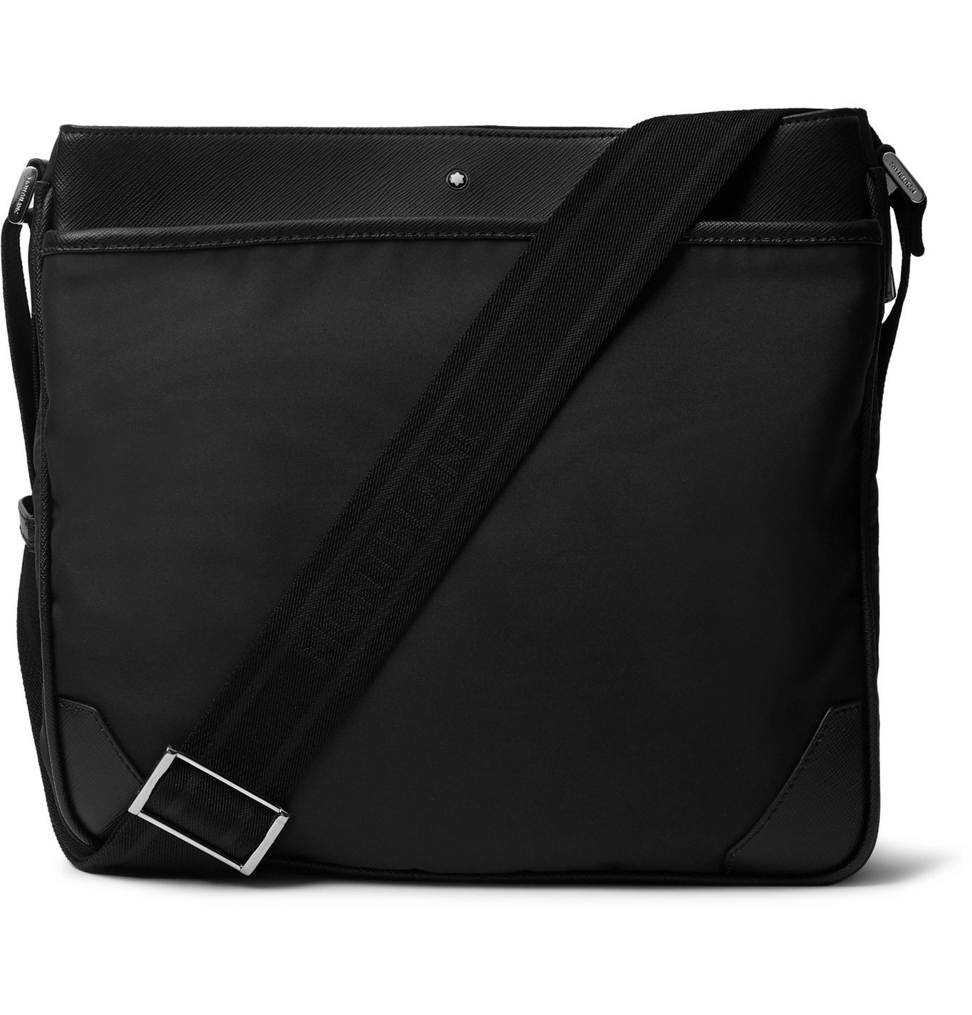 Photo: Montblanc - Sartorial Textured Leather-Trimmed Shell Messenger Bag - Black