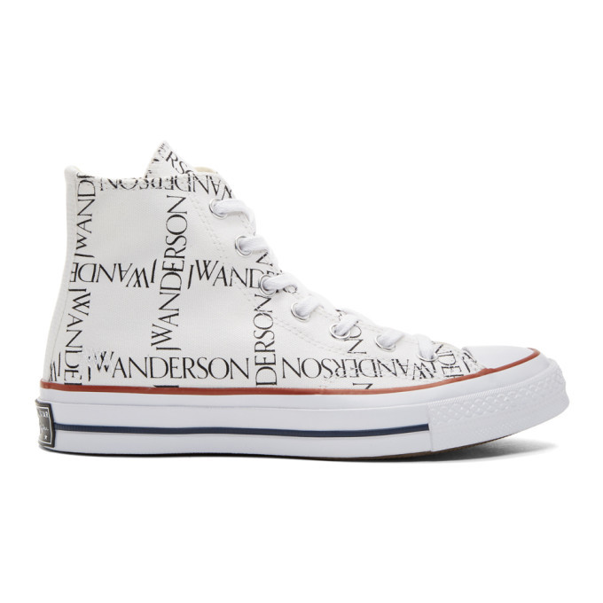 Photo: JW Anderson White Converse Edition Grid Logo Sneakers
