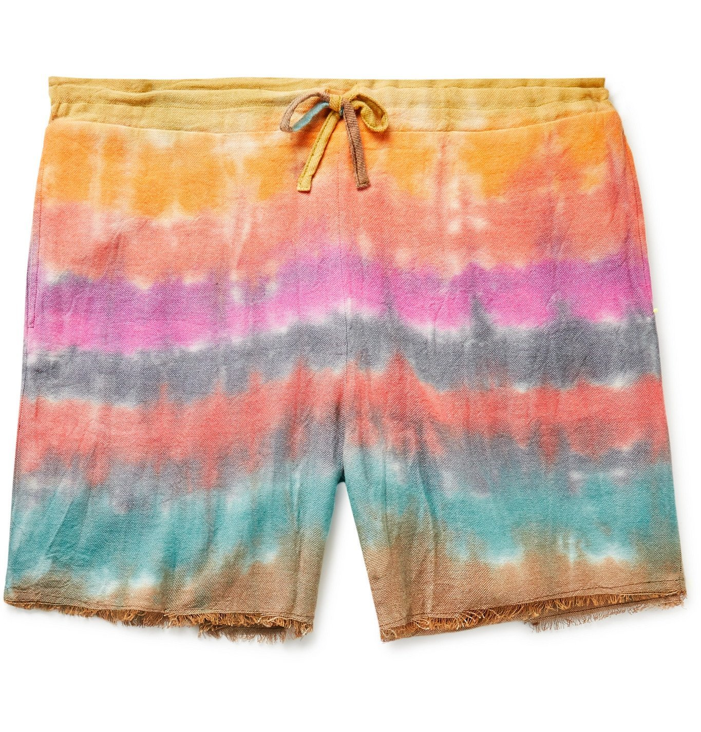 Photo: The Elder Statesman - Wacky Boomslang Tie-Dyed Wool, Cashmere and Cotton-Blend Drawstring Shorts - Orange