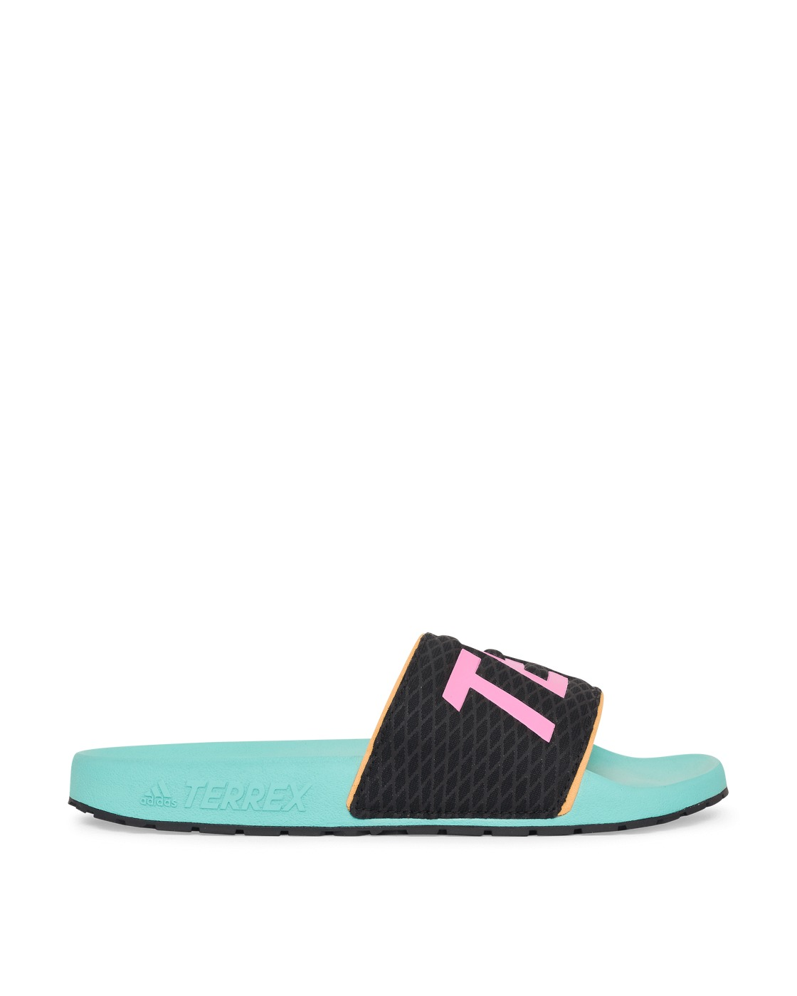Photo: Adidas Originals Terrex Adilette Slides Acid Mint/Screaming Pink