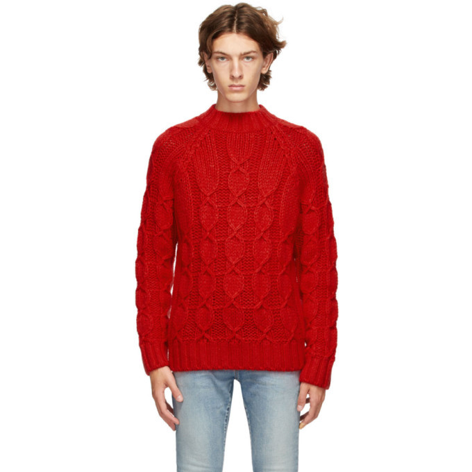 Photo: Saint Laurent Red Cable Knit Sweater