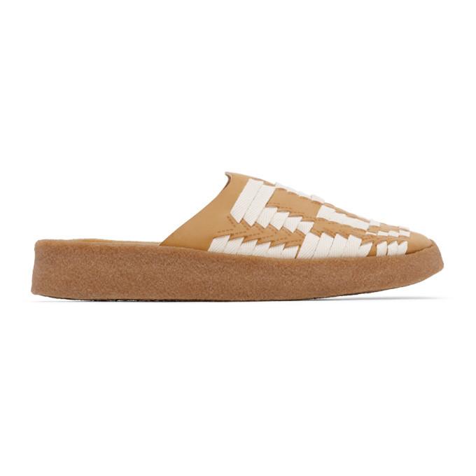 Photo: Malibu Sandals Tan and Off-White Vegan Leather and Hemp Tunderbird Sandals