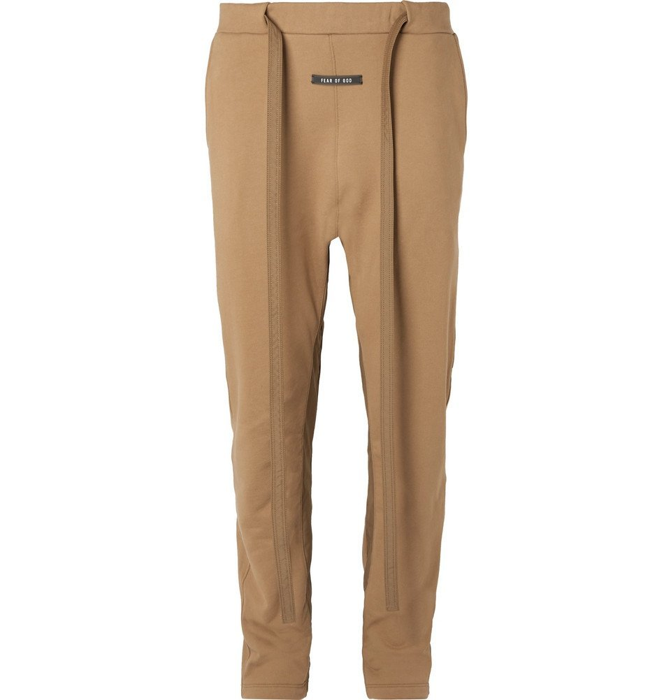 Photo: Fear of God - Tapered Nylon-Trimmed Loopback Cotton-Jersey Sweatpants - Brown