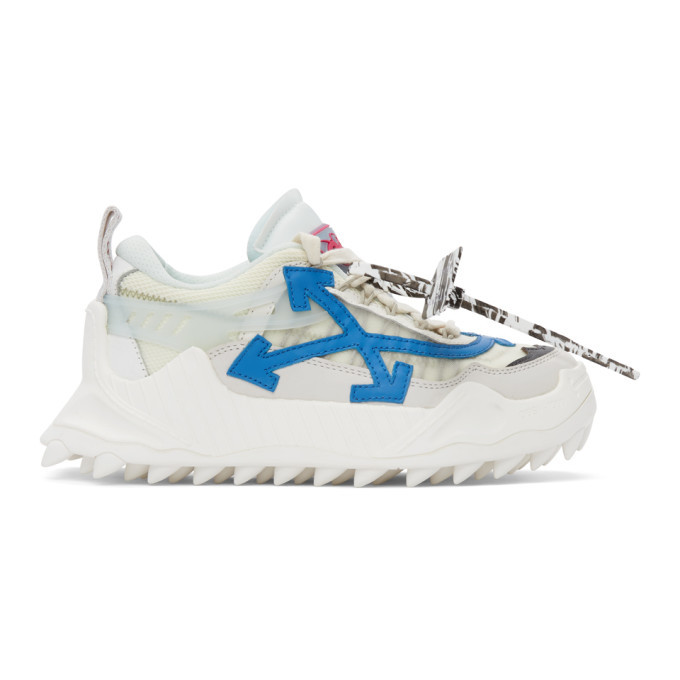 Photo: Off-White White and Blue Odsy-2000 Sneakers