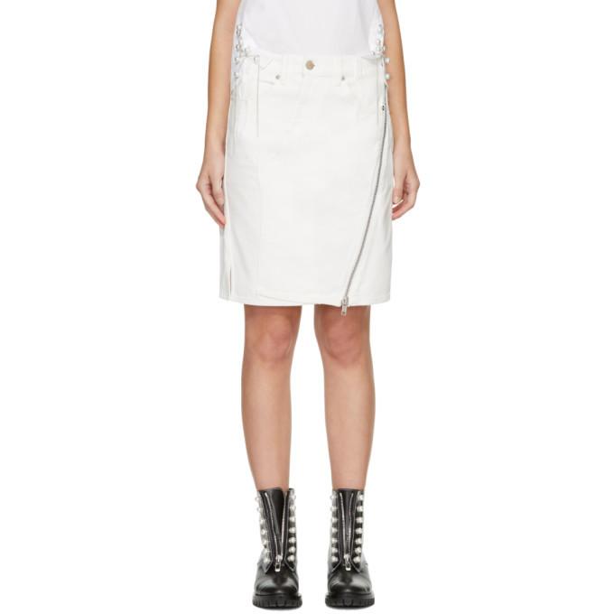 3.1 Phillip Lim White Asymmetric Denim Zipper Skirt