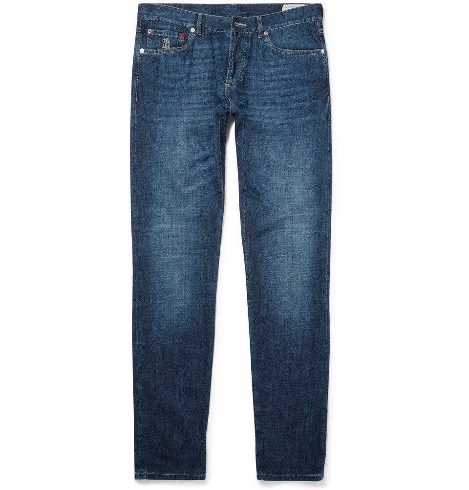 Photo: Brunello Cucinelli - Slim-Fit Denim Jeans - Blue