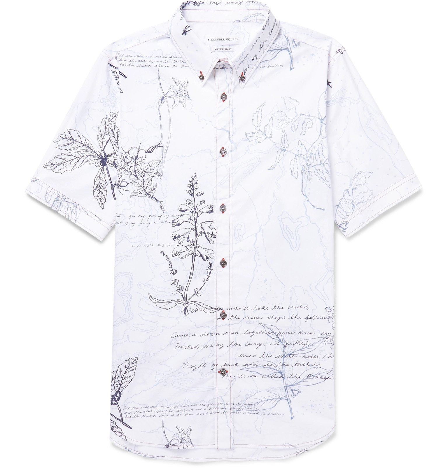 Photo: Alexander McQueen - Slim-Fit Button-Down Collar Embroidered Printed Cotton-Poplin Shirt - White