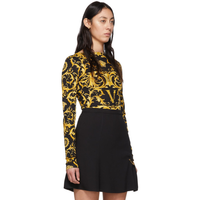 Versace Black and Yellow Wester Barocco Bodysuit
