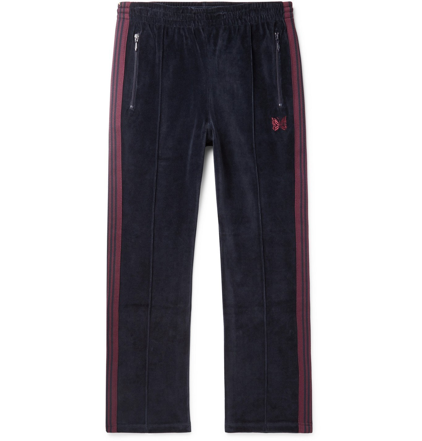 Photo: Needles - Logo-Embroidered Webbing-Trimmed Cotton-Blend Velour Track Pants - Blue