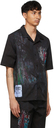 MCQ Black Bruised Tie-Dye Casual Short Sleeve Shirt