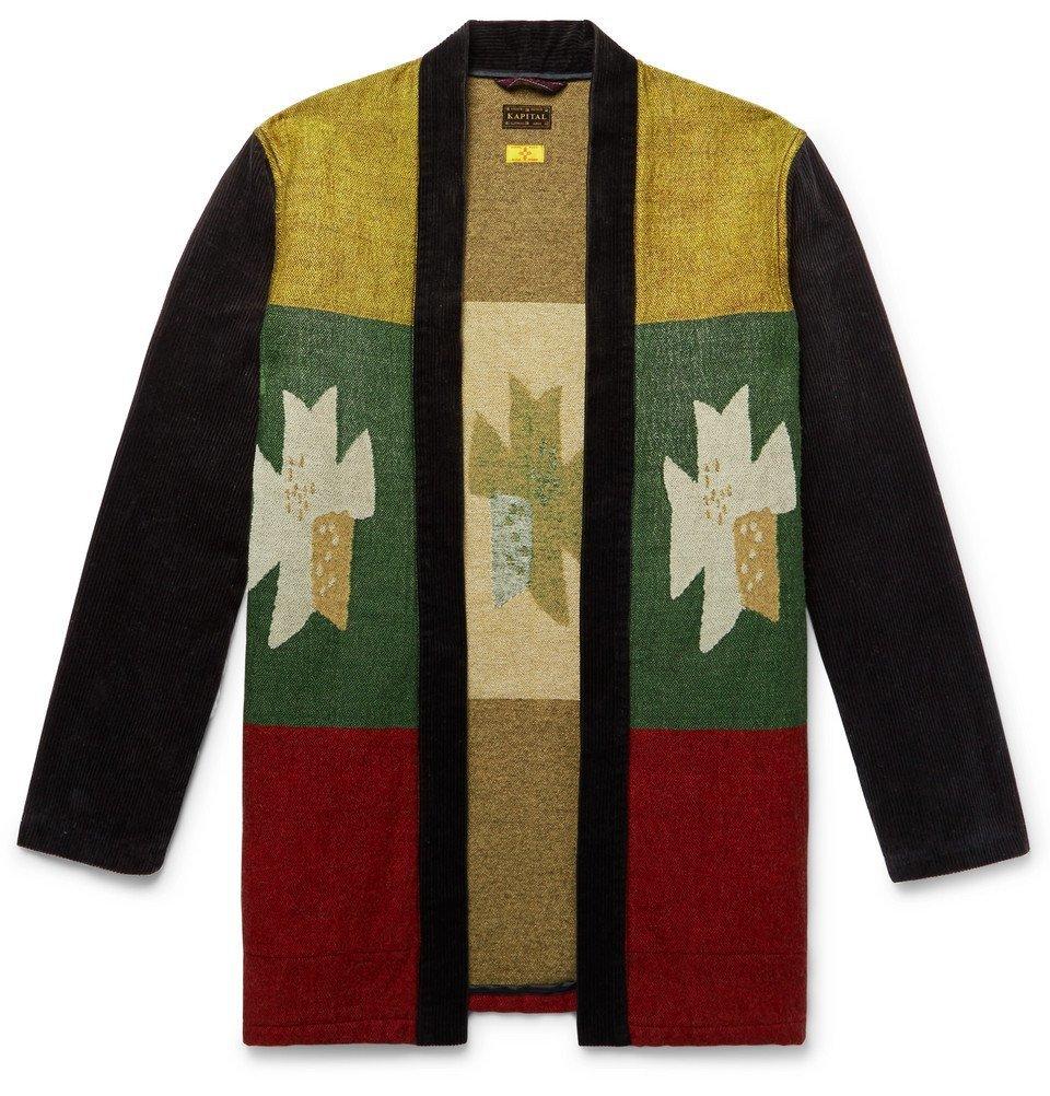 KAPITAL - Shawl-Collar Intarsia Cotton-Blend and Corduroy Cardigan - Men - Black