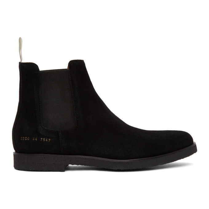 Photo: Common Projects Black Suede Chelsea Boots