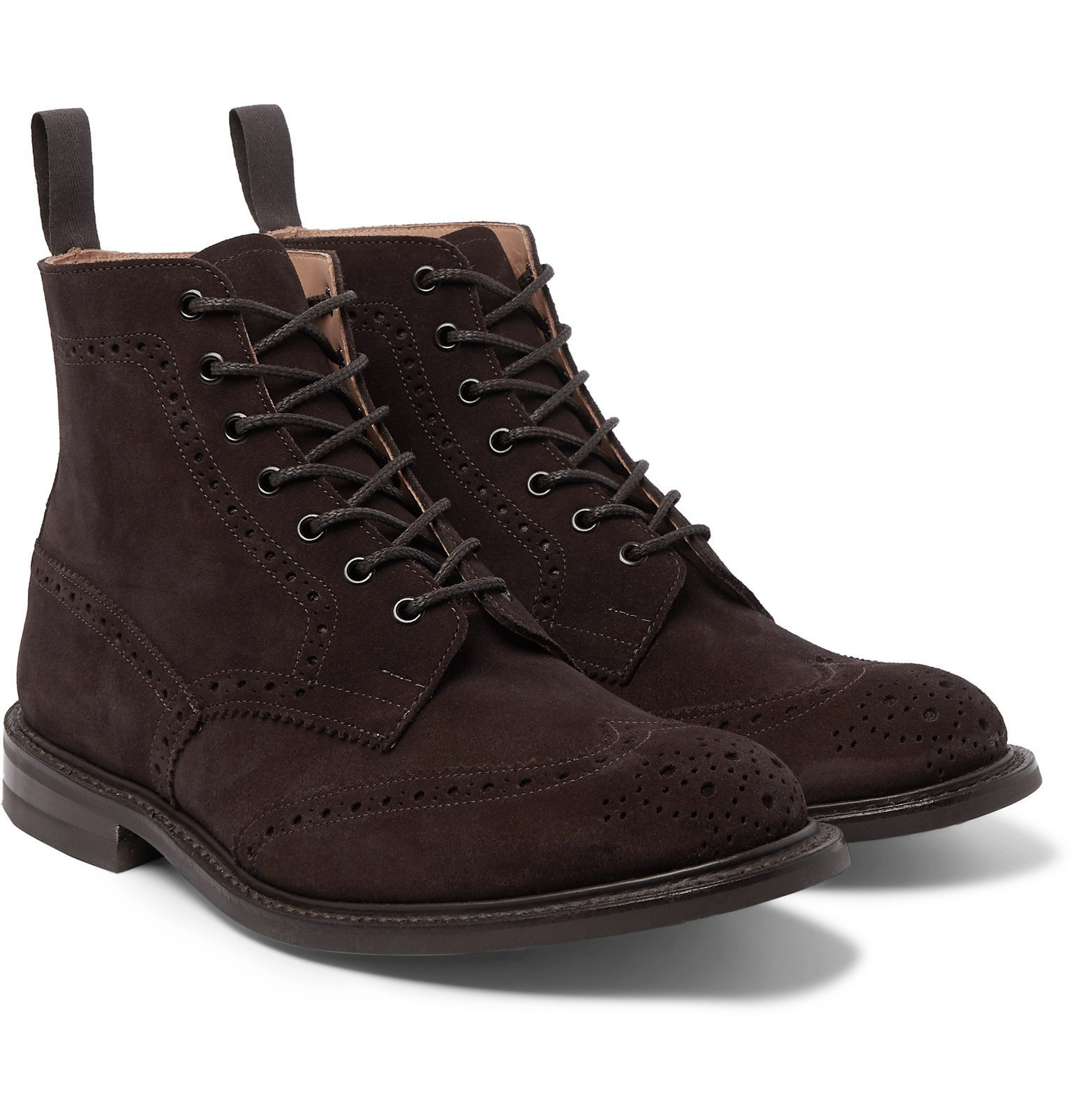 Photo: Tricker's - Stow Suede Brogue Boots - Brown