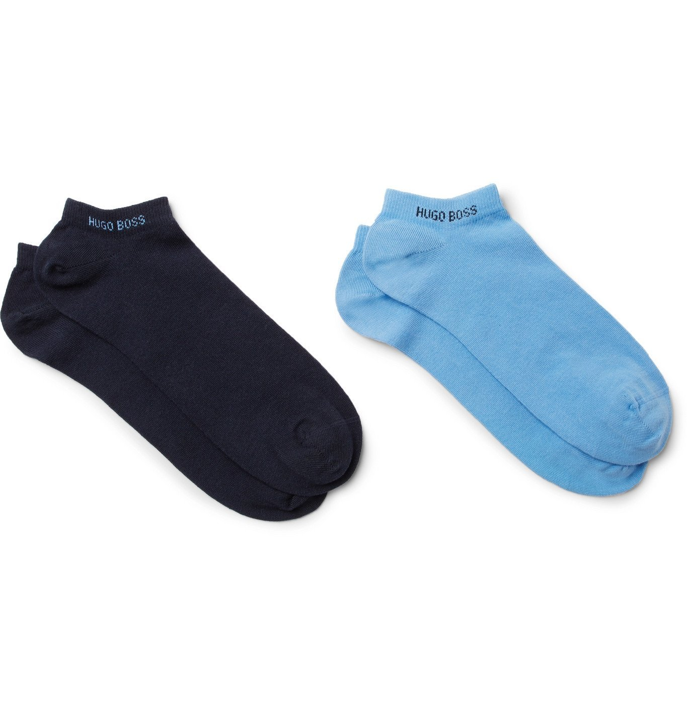 Photo: Hugo Boss - Two-Pack Stretch Cotton-Blend No-Show Socks - Blue