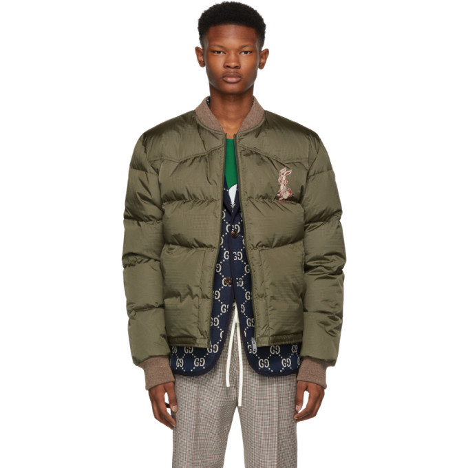 Photo: Gucci Green Embroidered Down Jacket