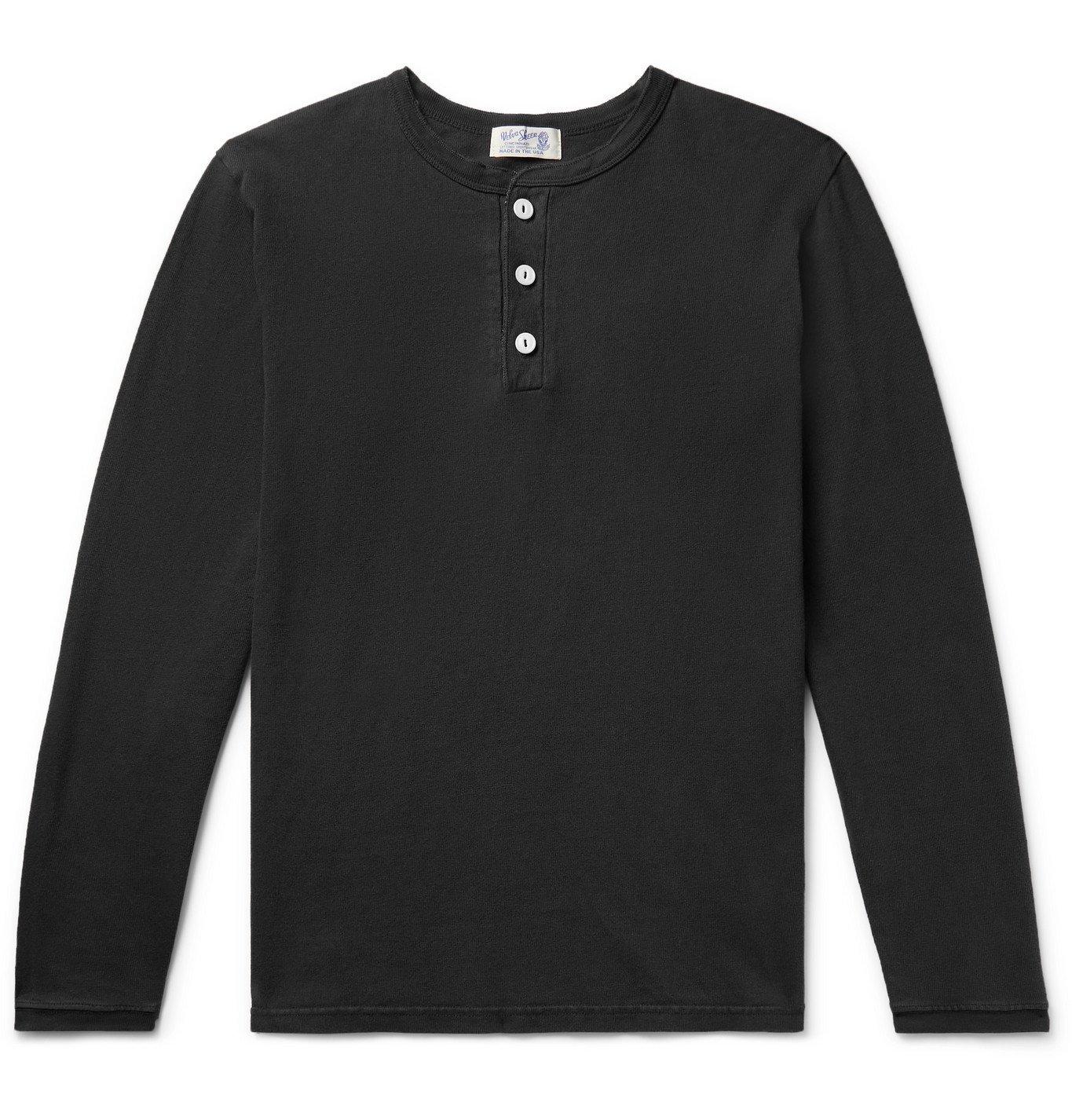 Photo: Velva Sheen - Cotton-Jersey Henley T-Shirt - Gray