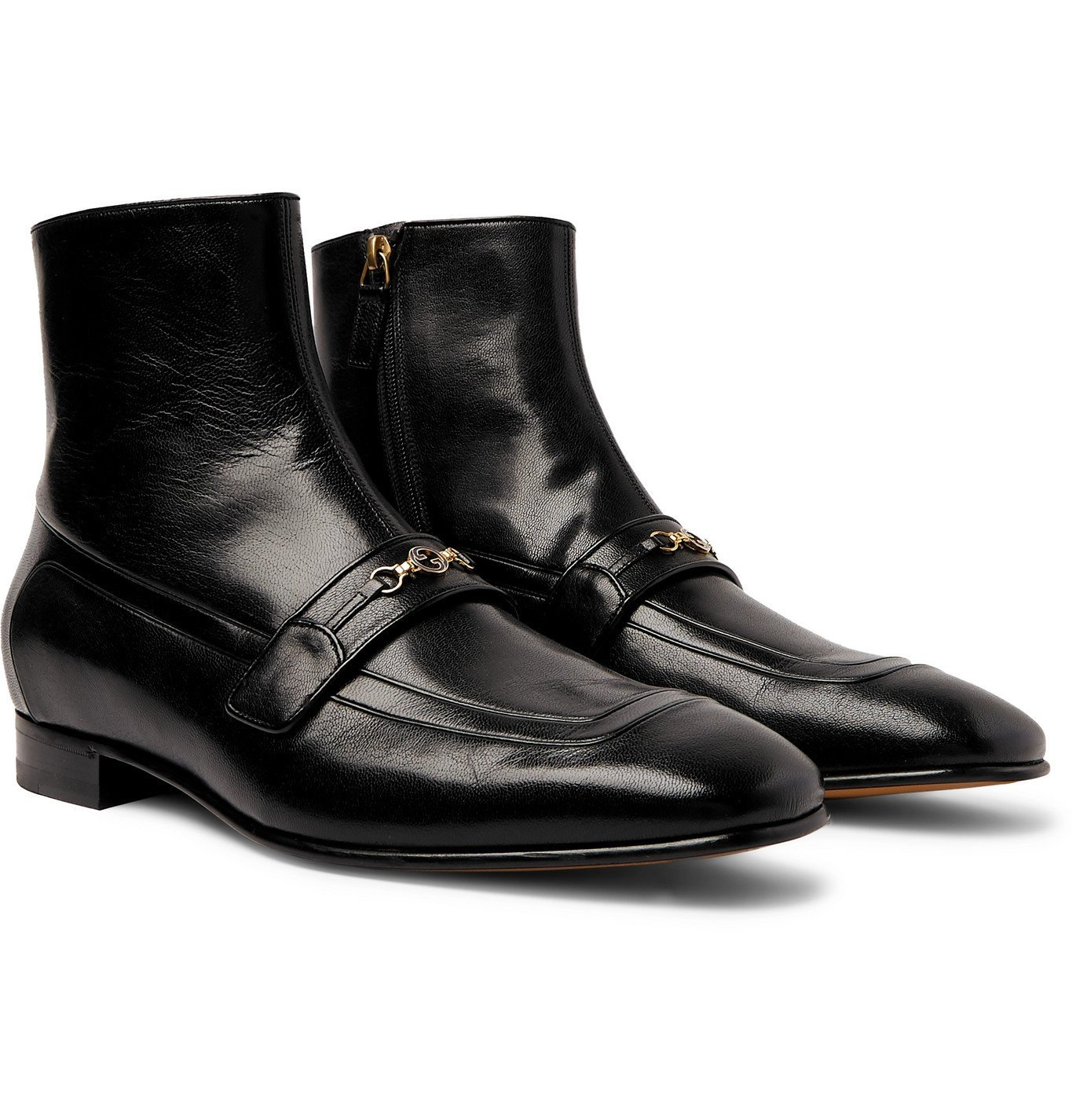 Photo: Gucci - Dracma Horsebit Leather Boots - Black