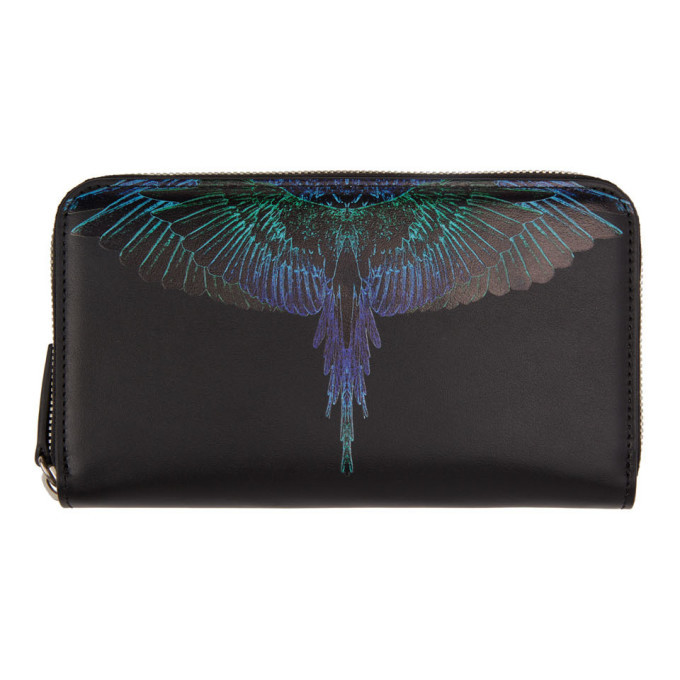 Photo: Marcelo Burlon County of Milan Black and Blue Wings Continental Wallet