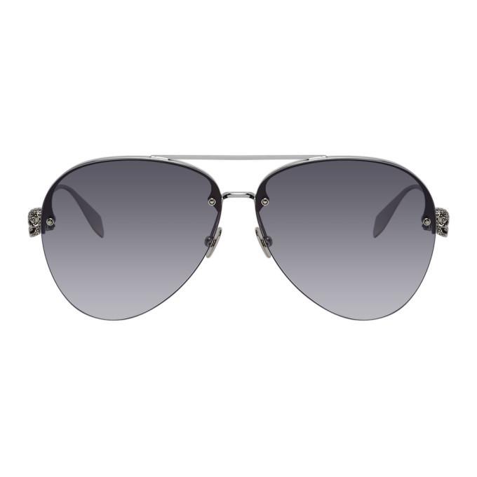 Photo: Alexander McQueen Silver Skull Aviator Sunglasses
