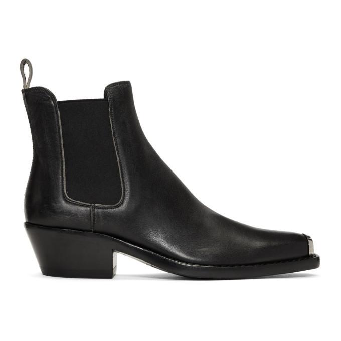 Photo: Calvin Klein 205W39NYC Black Distressed Western Chris Boots