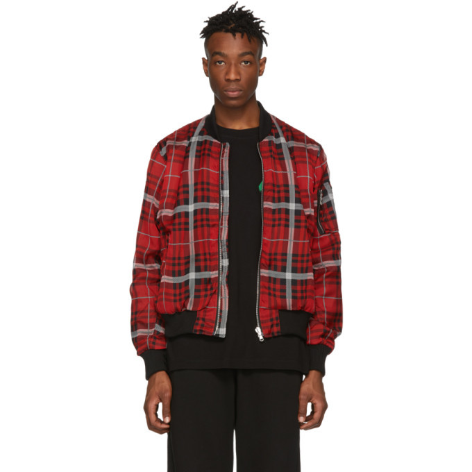 Photo: 424 Black and Red Silk Bomber Jacket