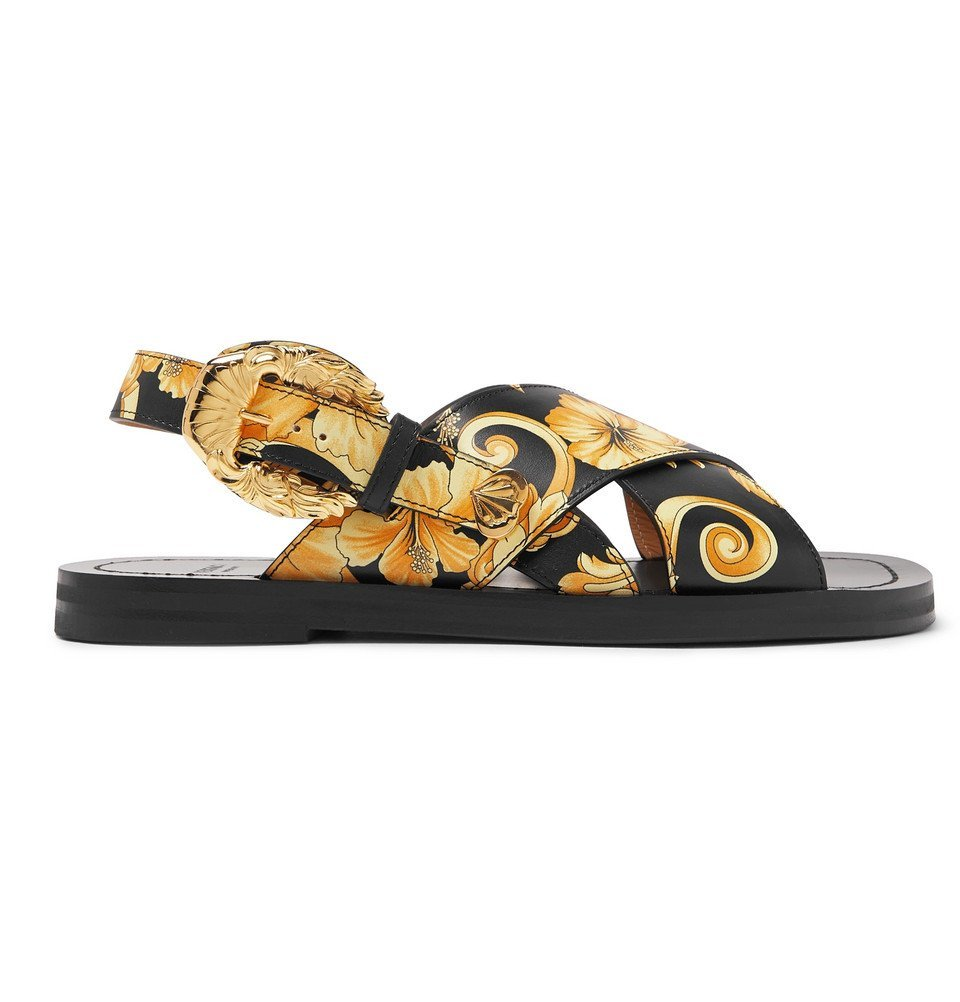 Photo: Versace - Printed Leather Sandals - Multi