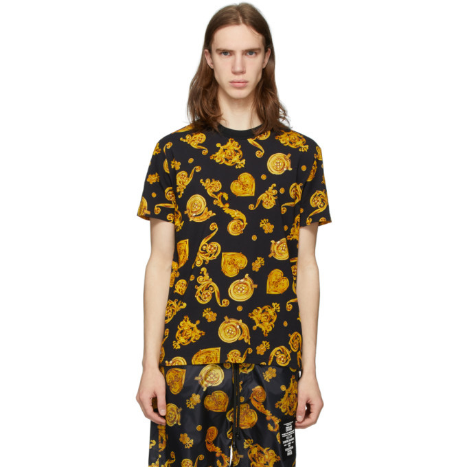 Photo: Versace Jeans Couture Black and Yellow Baroque T-Shirt