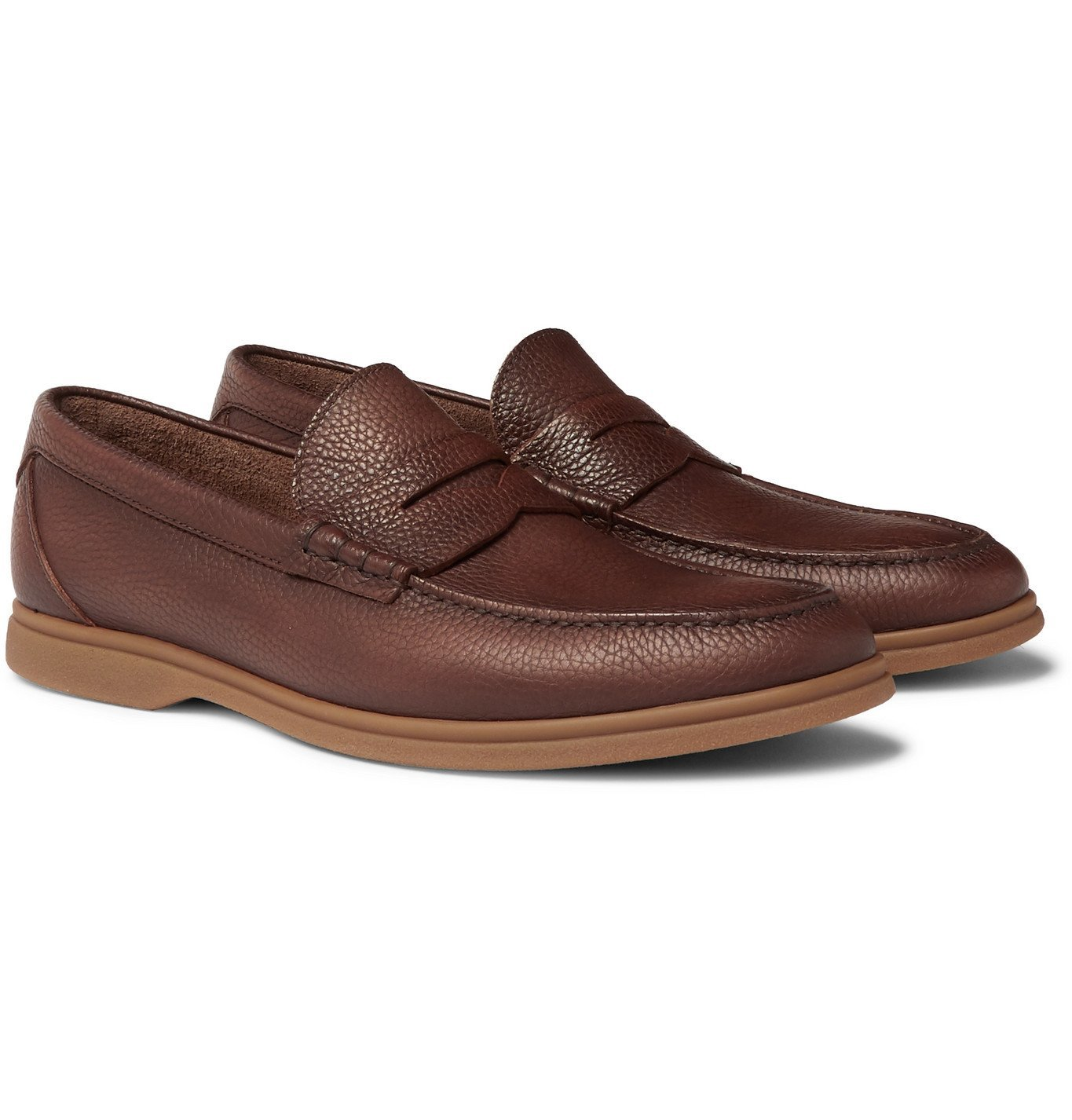 Photo: Brunello Cucinelli - Full-Grain Leather Penny Loafers - Brown
