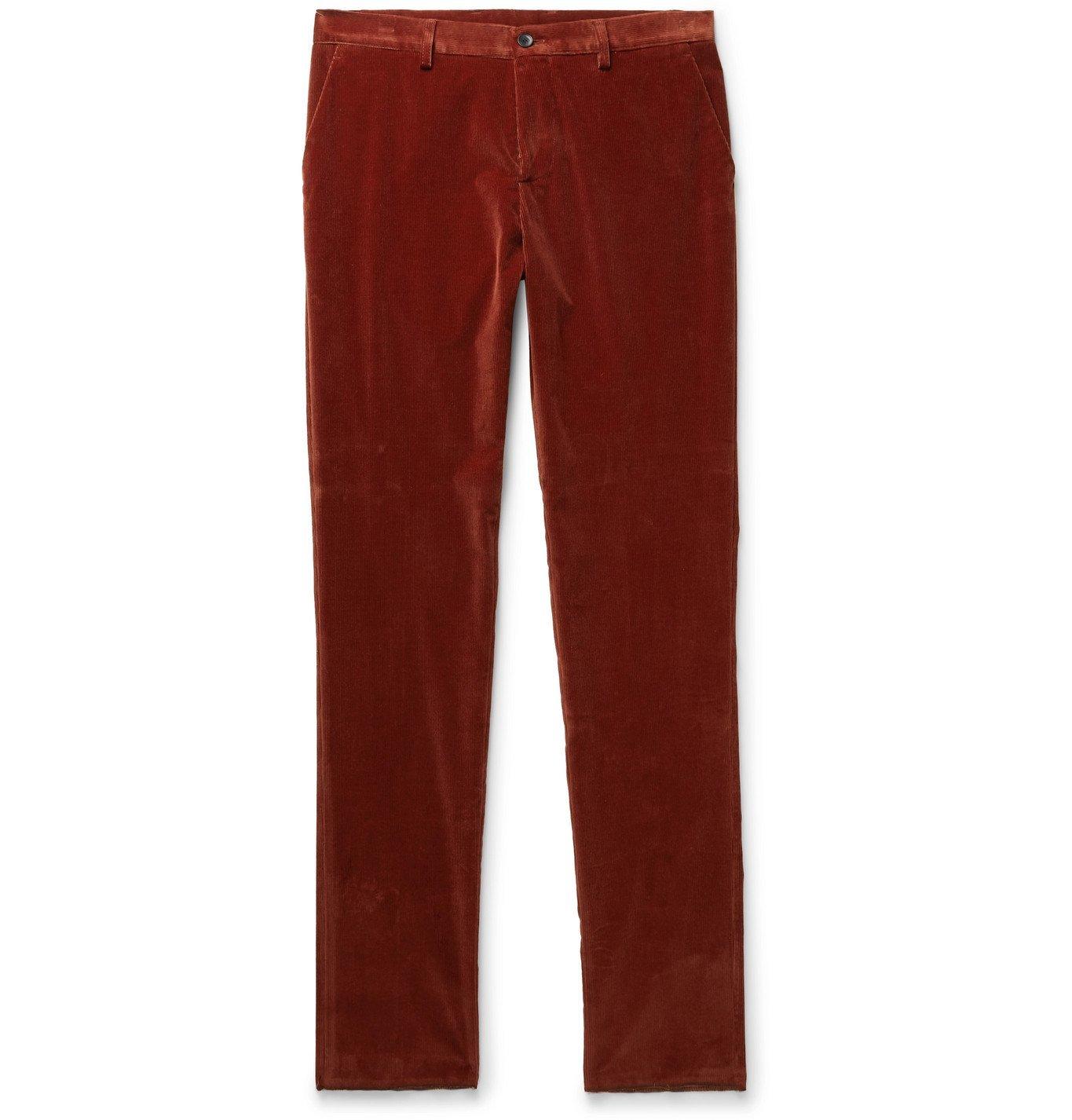 Photo: Etro - Slim-Fit Stretch-Cotton Corduroy Trousers - Burgundy