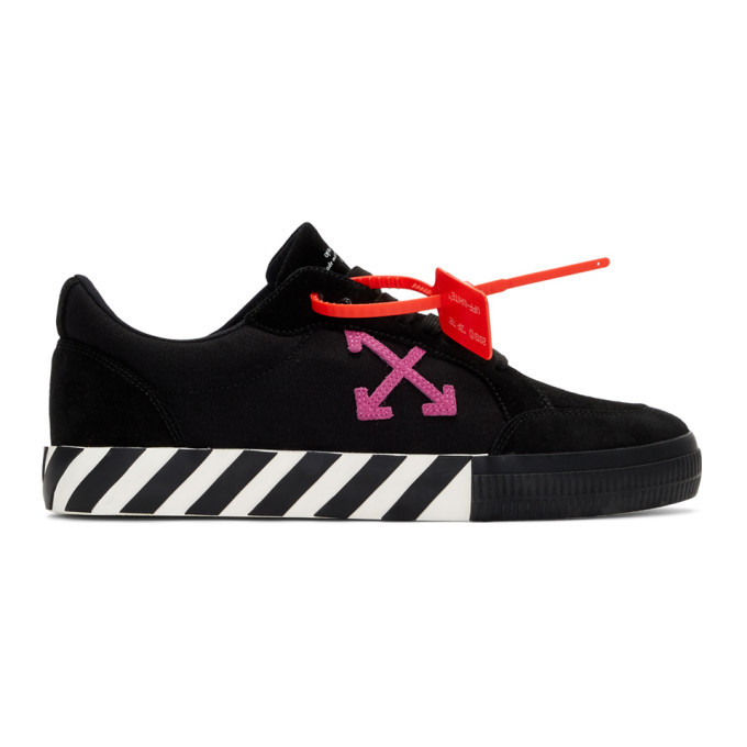 Photo: Off-White Black and Pink Low Vulcanized Sneakers