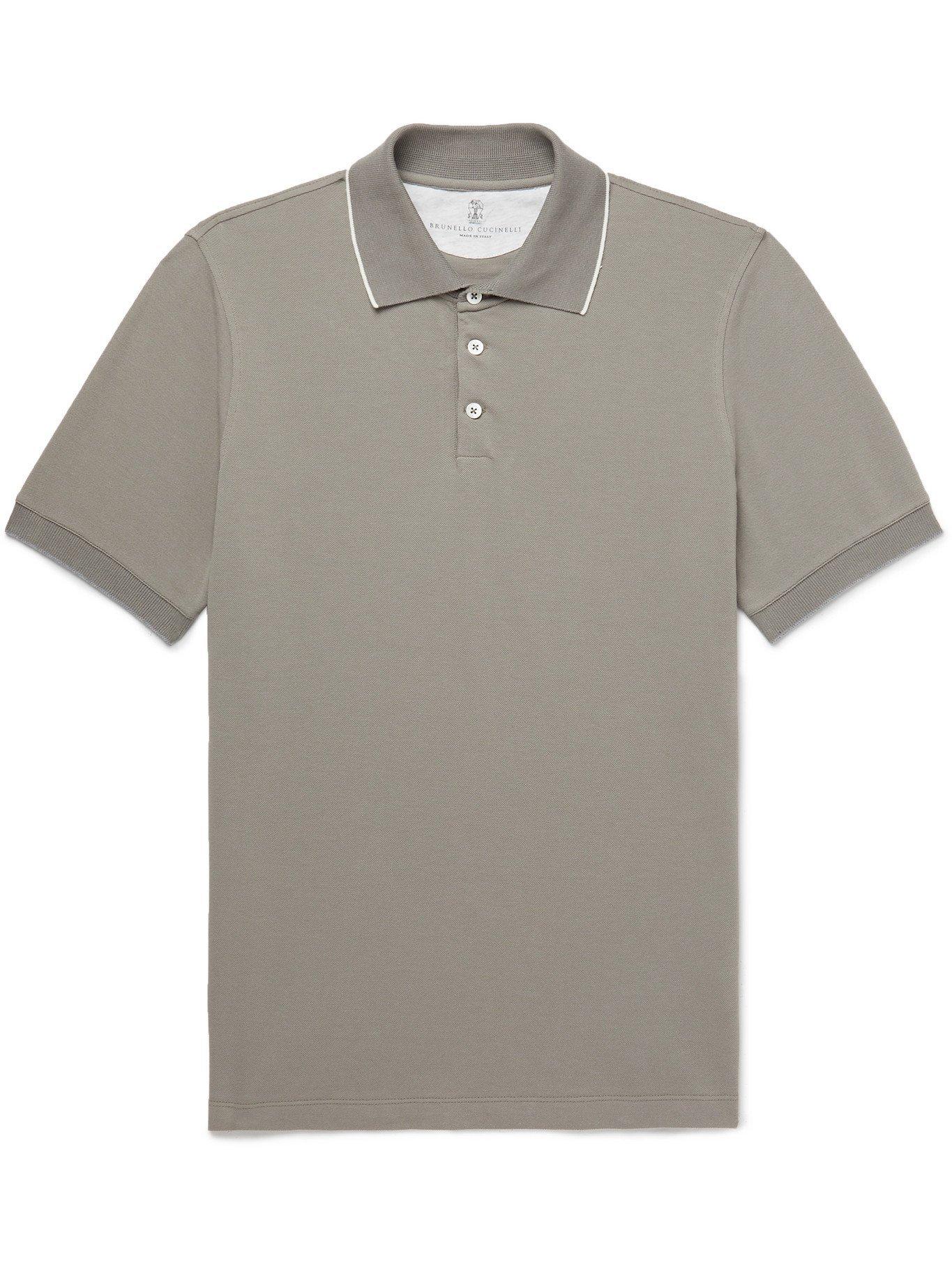 Photo: BRUNELLO CUCINELLI - Slim-Fit Contrast-Tipped Cotton-Piqué Polo Shirt - Green - M