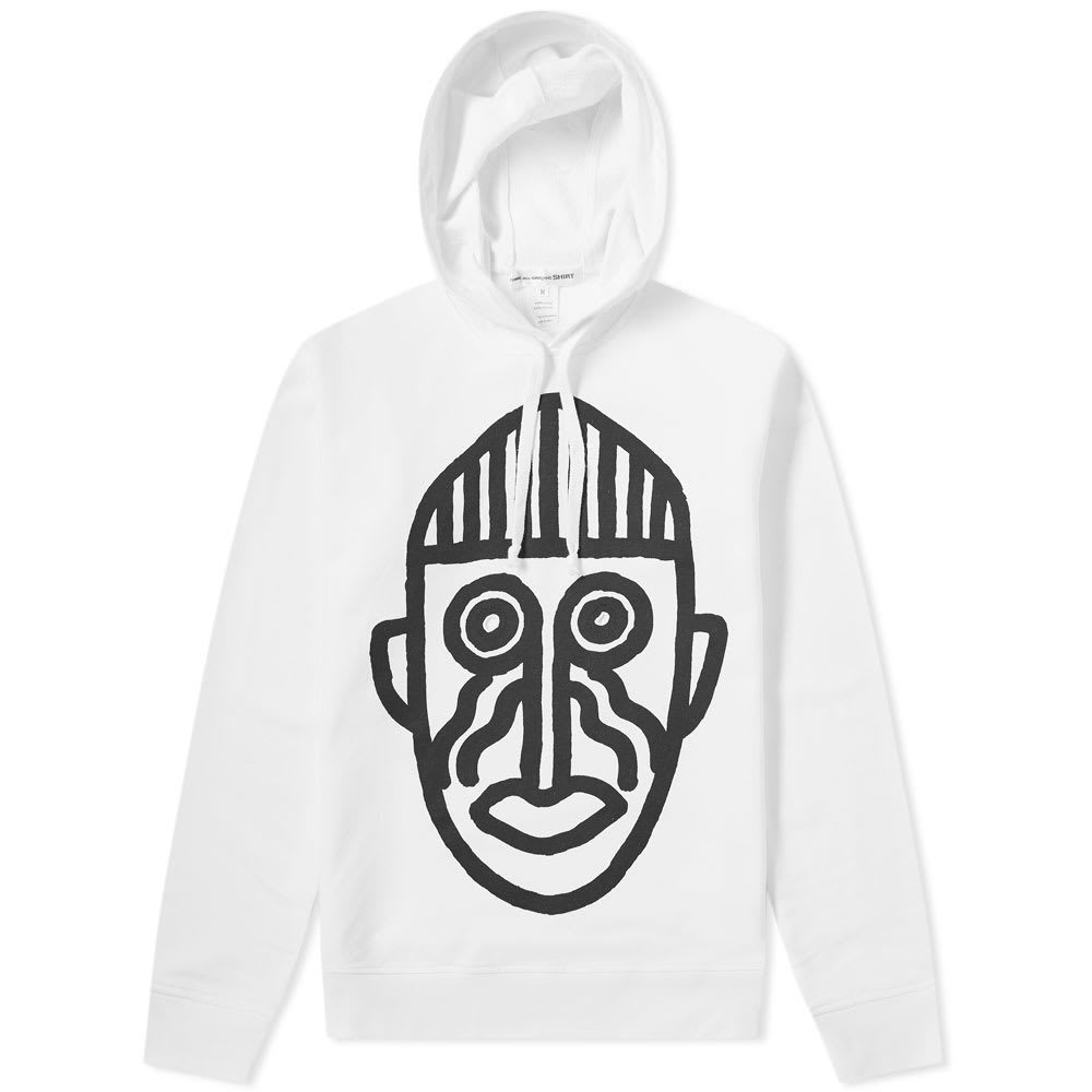 Comme des Garcons SHIRT Cut Out Mask Hoody White & Print M