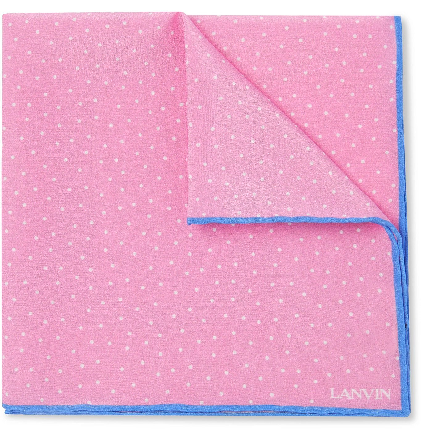 Photo: Lanvin - Polka-Dot Silk Pocket Square - Pink