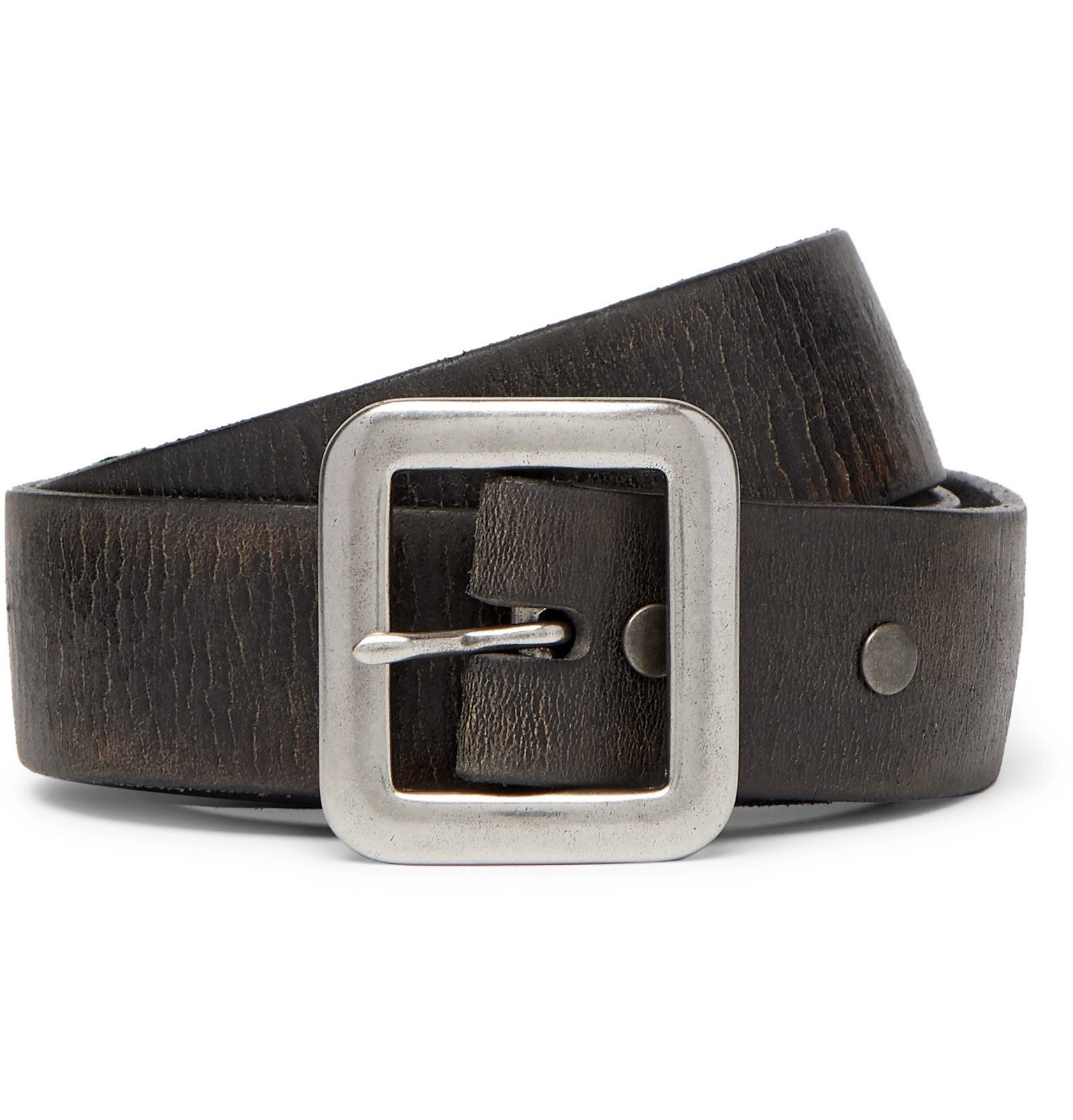 RRL - 3.5cm New Burlington Tumbled-Leather Belt - Black