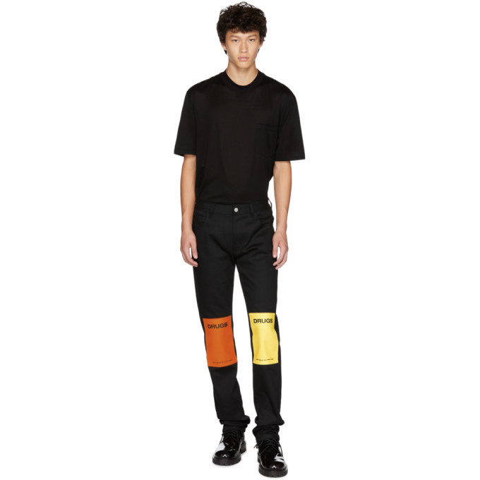 Raf Simons Black Patches Regular Fit Jeans
