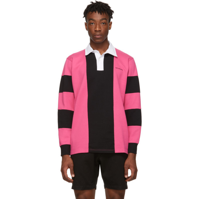 Photo: Saturdays NYC Pink and Black Sanders Polo