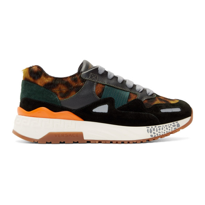 Photo: Versace Black and Brown Animalier Sneakers