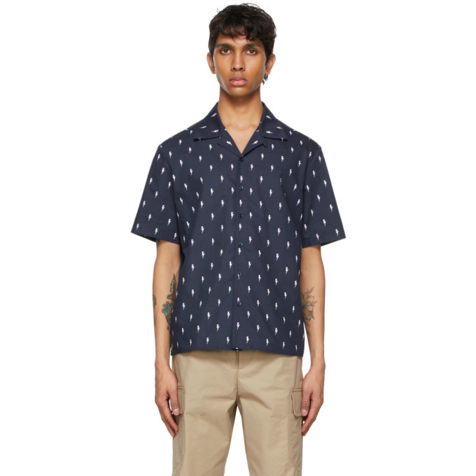 Photo: Neil Barrett Navy Thunderbolt Print Short Sleeve Shirt